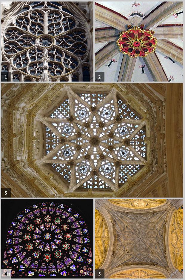 Ejemplo de mandalas en la arquitectura gótica